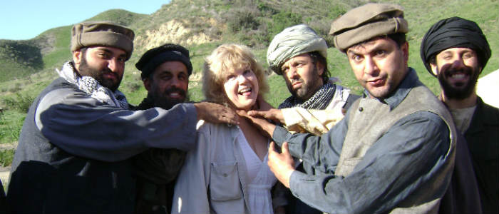 Terrorism Thriller Book Author with Terrorists on the set of American Carol
